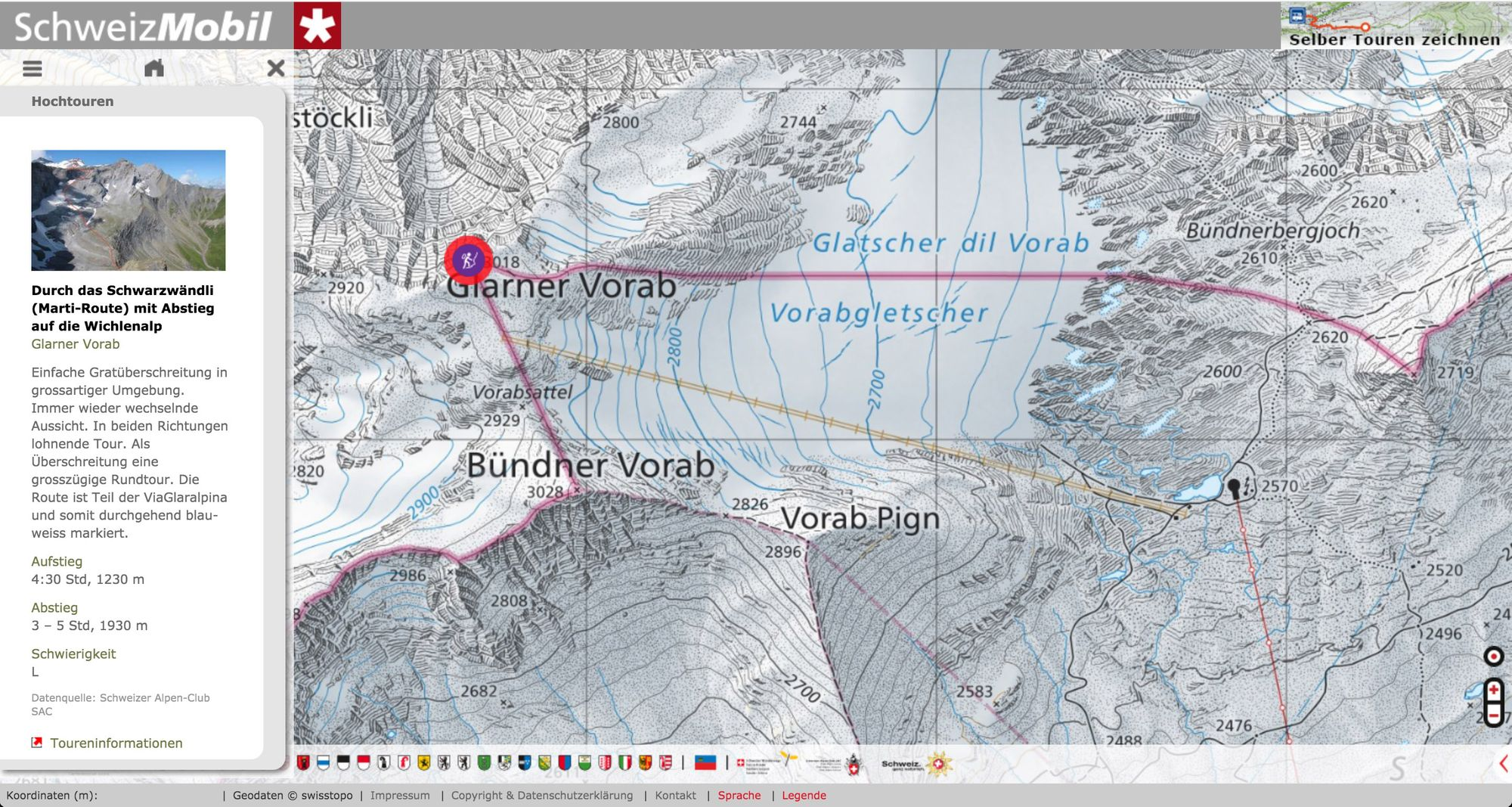 SchweizMobil: Jetzt mit Berg- und Skitouren