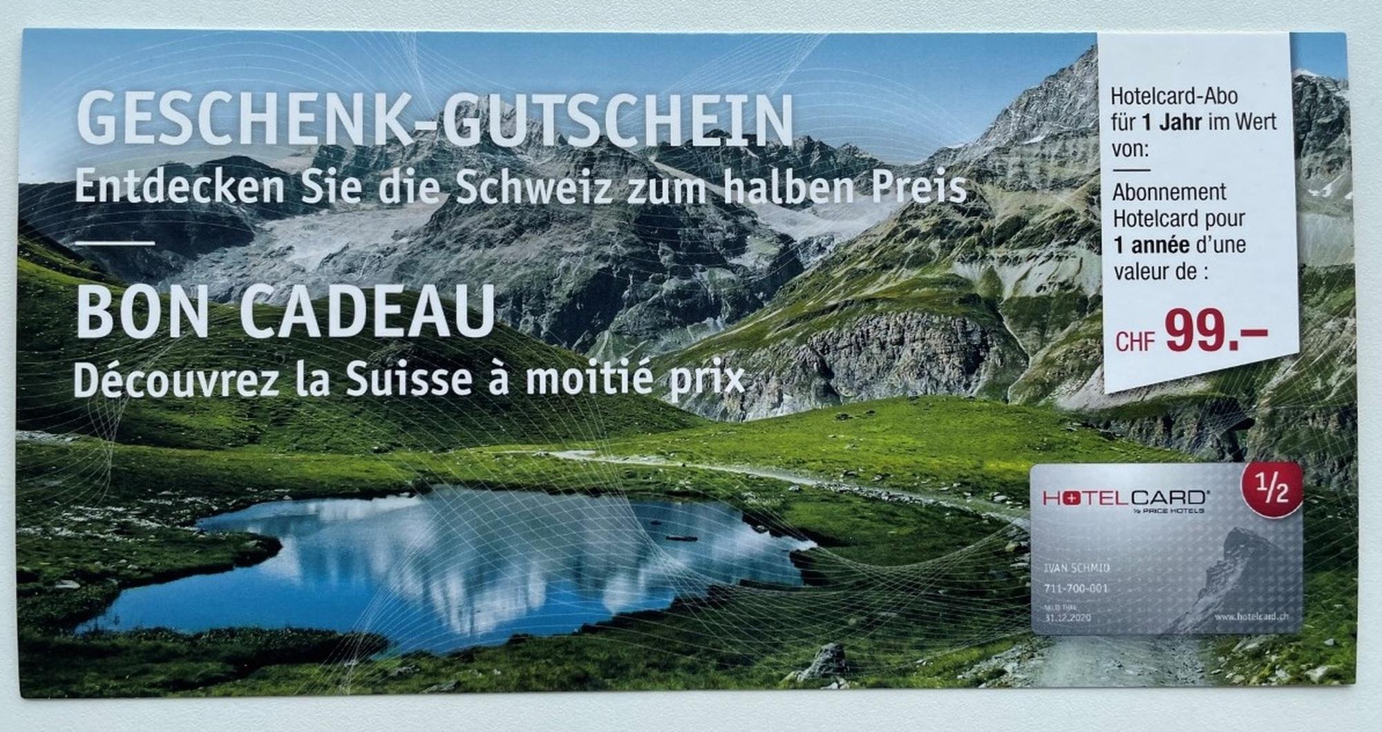 Gewinnspiel: Hotelcard im Wert von CHF 99.00